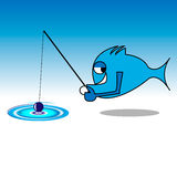 Fish Gone Fishing. Created as a  in illustrator cs4 and saved as jpg Royalty Free Stock Photography