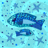 Fish, graphic pattern Stock Photos