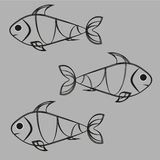 Fish on a gray background. Image of three black and white fish on a gray background abstract fish Stock Photos