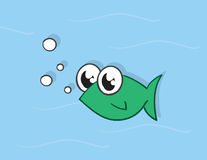 Fish Green. Green fish character in the water Royalty Free Stock Photography