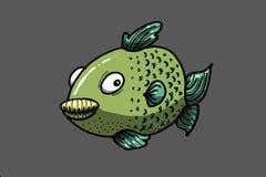 Fish. Green fish on gray background, illustration Royalty Free Stock Image