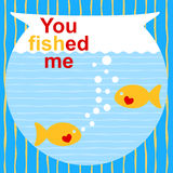 Fish greeting Card. Invitation card with fishes on a bowl Stock Images