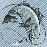 The fish in grey. Big fish jumping out of the Water after a hook with feather bait against wavy pattern drawn in retro style using  grey blue palette Royalty Free Stock Photos