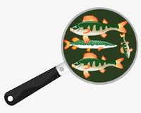 Fish on griddle. On white background is insulated Stock Image