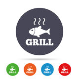 Fish grill hot icon. Cook or fry fish symbol. Royalty Free Stock Photo