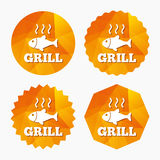 Fish grill hot icon. Cook or fry fish symbol. Royalty Free Stock Photography