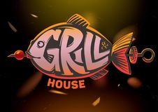 Fish. Grill house. Fish lettering. Grill house emblem on dark background Royalty Free Stock Images