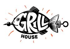 Fish. Grill house. Fish lettering. Grill house emblem Royalty Free Stock Photography