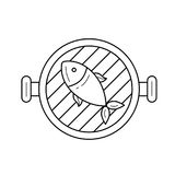 Fish grill vector line icon. Fish grill line icon isolated on white background. Vector line icon of fish on a grill pan for infographic, website or app. Icon Royalty Free Stock Images