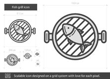 Fish grill line icon. Fish grill vector line icon isolated on white background. Fish grill line icon for infographic, website or app. Scalable icon designed on Stock Photo
