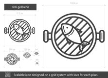 Fish grill line icon. Royalty Free Stock Photos