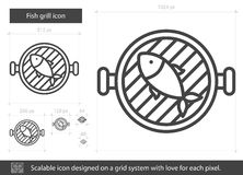 Fish grill line icon. Fish grill vector line icon isolated on white background. Fish grill line icon for infographic, website or app. Scalable icon designed on Stock Images