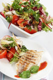 Fish grill with salad Stock Photography