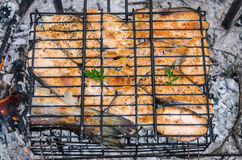 Fish on a grill. Stakes of red fish on a grill Stock Photo