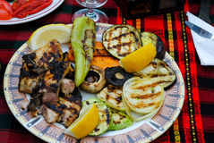 Fish with grilled vegetables Stock Image