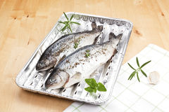 Fish on grilling tray ready for barbecue. Royalty Free Stock Photography