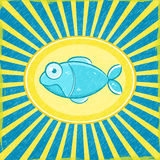 Fish Grunge Blue Striped Card. Grunge Yellow Blue Radial Striped Card with Cyan Fish. Illustration Stock Image