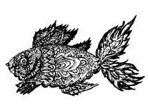 Fish Grunge Lineart. Ornamental graphic fish sketch, abstract zentangle patterns Royalty Free Stock Photography