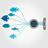 Fish a guitar. Fishes from guitar strings. A vector illustration Royalty Free Stock Image