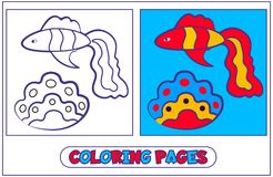Marine inhabitants coloring pages5. Fish guppies and shell. The book for destkogo creativity. Black-and-white drawing from lines for coloring with paints and Royalty Free Stock Photo