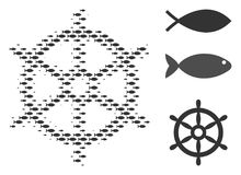 Fish Halftone Boat Steering Wheel Composition. Fish boat steering wheel halftone composition. Vector fish items are arranged into boat steering wheel composition Stock Photography