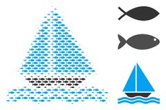 Fish Halftone Sea Boat Collage. Fish sea boat halftone mosaic. Vector fish items are combined into sea boat mosaic. Ocean design concept Stock Images