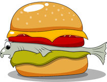 Fish hamburger. Vector picture of funny hamburger with fish Stock Image