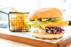 Fish hamburger with french fries Royalty Free Stock Images