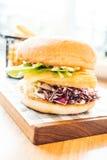 Fish hamburger with french fries Stock Image