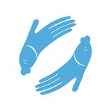 Fish hand design icon. Sign for Spa. Vector logo symbol illustration for fish massage. Encourage friendship of fish and people design. Isolated on white Royalty Free Stock Images