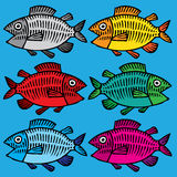 Fish hand drawing colored. Six vivid fishes on blue background hand drawing Stock Photography