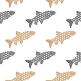 Fish hand drawn pattern. Salmon, gray and beige objects isolated on white. Fish hand drawn pattern. Salmon, gray and beige object isolated on white. Doodle art Royalty Free Stock Photos