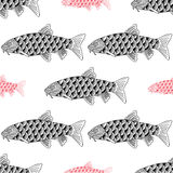 Fish Hand drawn sketched  illustration. Doodle graphic Royalty Free Stock Photos