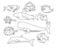 Fish hand drawn vector line art set icons art illustration.  Stock Images