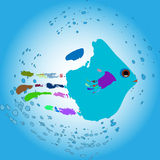 Fish from the hand print. Vector illustration of a fish in the water, drawn from the hand print Stock Images