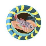 Fish in the hands against the background of a life buoy. Icon. Games vector illustration Royalty Free Stock Images