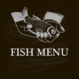 Fish in hands. Fish menu painted on a chalk board. - vector. Fish in hands. Fish menu painted on a chalk board  vector illustration Royalty Free Stock Images