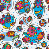 Fish happy colorful bubble seamless pattern. Illustration abstract bubble happy smile fish colorful drawing design seamless pattern blue color background fresh Stock Images