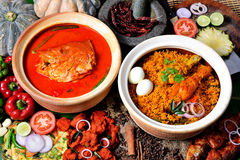 Fish Head Curry & Biryani Rice Royalty Free Stock Photos