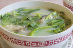 Fish Head Soup with Chinese Vegetable Closeup Royalty Free Stock Photos