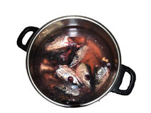 Fish heads in a pot. A pot full of heads of fishes royalty free stock photography