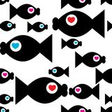 Fish with heart. Seamless  background with fish Stock Image