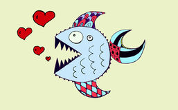 Fish and hearts . Piranha . Vektor Stock Photos