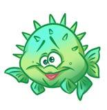 Fish hedgehog cartoon illustration Royalty Free Stock Photos