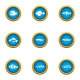 Fish hobby icons set, flat style. Fish hobby icons set. Flat set of 9 fish hobby vector icons for web isolated on white background Stock Photos