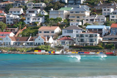 Fish Hoek Cape Town. Fish Hoek resort beach along Cape Town coastline Stock Images