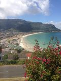 Fish Hoek Cove. Birds eye view of Fish Hoek beach with mountains in Southern Peninsula, Cape Town, South Africa Stock Photography