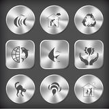 Fish, home cat, killer whale as recycling symbol, globe and sham. Animal set. Vector round and square steel buttons Stock Image