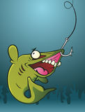 Fish on a Hook. A hapless fish who bit the wrong bait, now he is being dragged to his fate Royalty Free Stock Photos