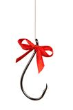 Fish hook. With red bow isolated on white background Stock Images